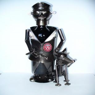 Botellero Metal Policia con Perro