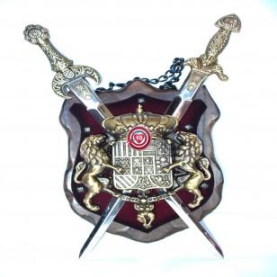 Panoplia Madera- Escudo con Espadas . Latón