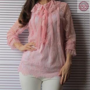 Blusa Color Rosa con Puntilla