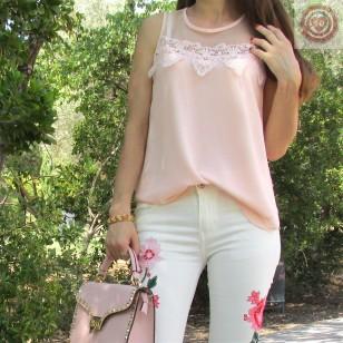 Blusa sin mangas en color rosa/salmon