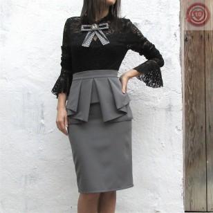 Falda de tubo color gris