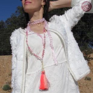 Collar  Boho ROSALIN  cristales y abalorios y 4 borlas