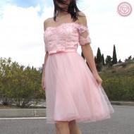 Vestido de Tul en color rosa con bordados y pedrería