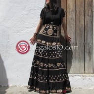 Falda larga boho DANSY  color negro y bordados  muy exclusiva