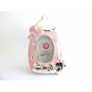 Portafotos Biberón Bebé - Rosa-  Regalos para Bautizos