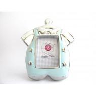 Portafotos Trajecito Bebé - Azul -  Regalos para Bautizos