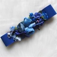 Cinturón flores AZUL KLEIN  elastico