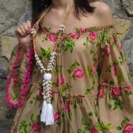 Collar Boho Chic POMPON color madera y blanco