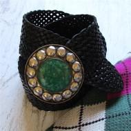 Cinturón piel trenzado color negro