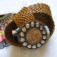 Cinturón piel trenzado color mostaza regalos10