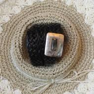 Cinturón trenzado boho de piel color negro