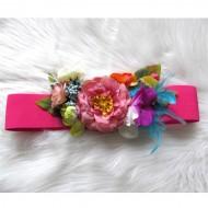 Cinturón flores FUCSIA  elastico regalos10