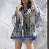 Blusón blusa Boho DAFNY en azul turquesa con pompones regalos10