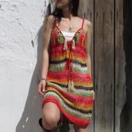 Vestido boho DAYANA multicolor ganchillo borlas y conchas  REGALOS10