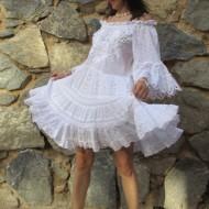 Vestido ibicenco Jasmine color blanco calado bordados y con encajes REGALOS10
