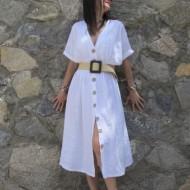 Vestido de 100% lino color blanco REGALOS10