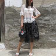 Blusa blanca crochet y tul Regaslo10