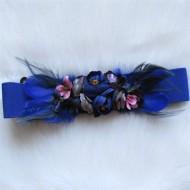Cinturónes de flores y plumas AZUL KLEIN elastico regalos10
