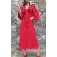 Vestido Rojo Cuello V y Mangas Abullonadas Regalos10