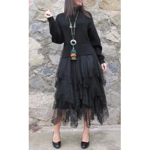 Vestido combinado de punto y tul color NEGRO REGALOS10