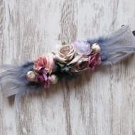 Cinturón flores y plumas PLATA  elastico regalos10