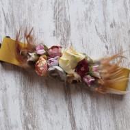 Cinturón flores y plumas AMARILLO elastico regalos10