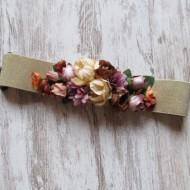 Cinturón elastico DORADO con flores Regalos10 ceremonias bodas bautizos fiestas