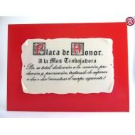 Placa de Honor - A la más Trabajadora