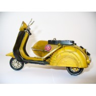 Moto Metálica Sidecar Amarilla